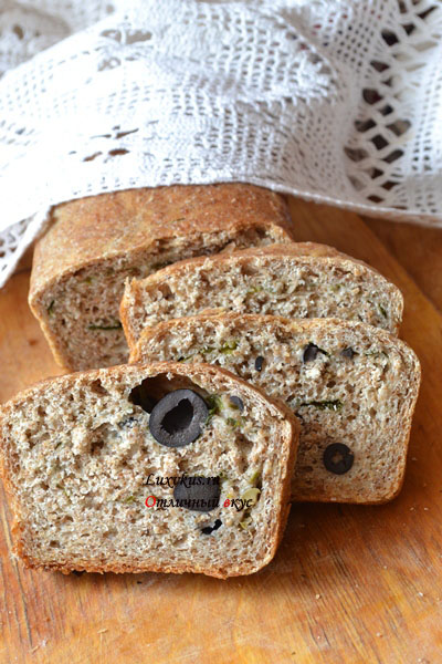Хлеб из отрубей с маслинами и оливками