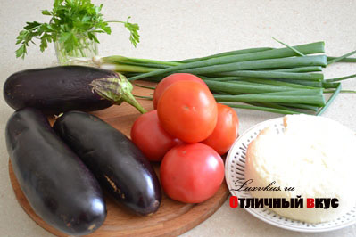 баклажаны, помидоры, сыр для салата