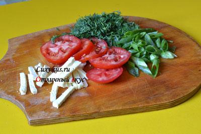 Зелень, помидоры для омлета
