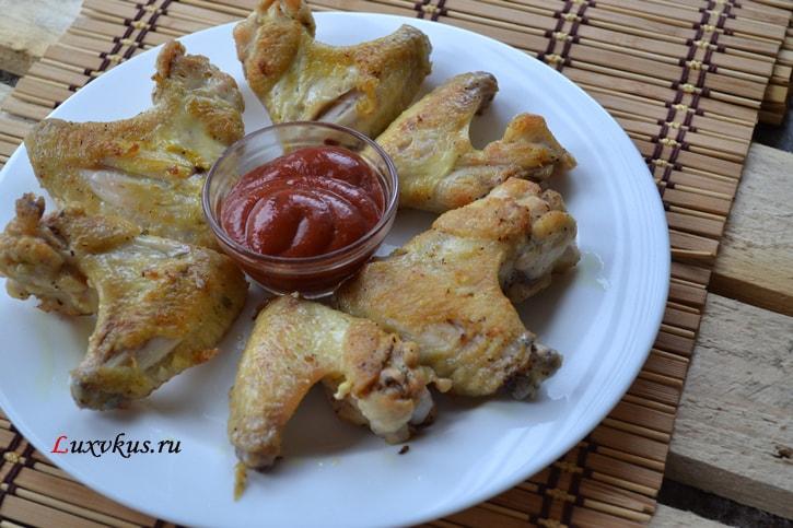 куриные крылышки жаренные на сковороде1