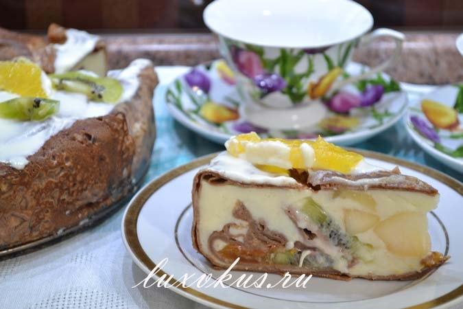 Кожаный блинный торт с киви