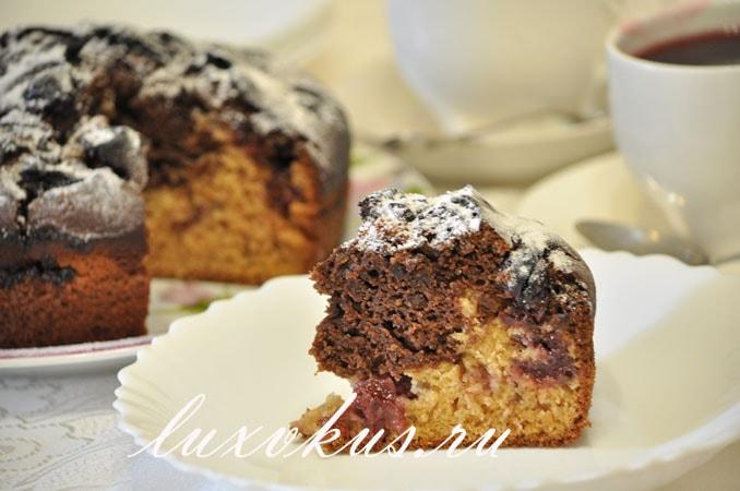 пирог шоколадный с вишней фото