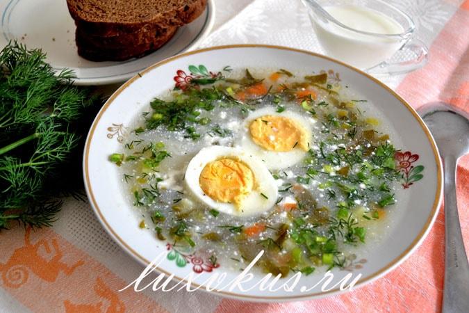 суп со щавелем и сметаной на курином бульоне